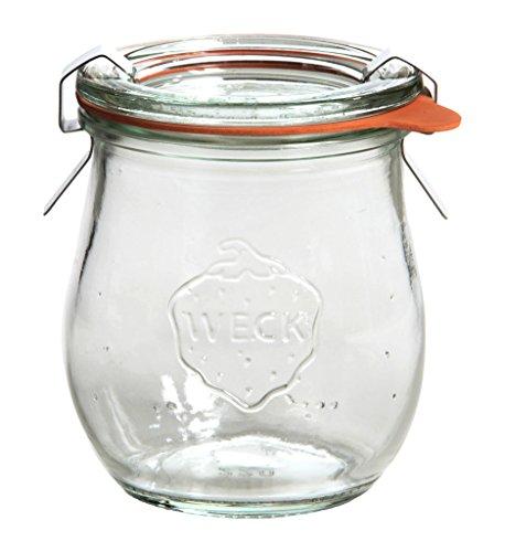 Weck Tulpenglas 220ml 12er-Set: Sturzglas Deckel, Dichtring Einmach-Klammern, Glas, Durchsichtig, 12 x 220 ml