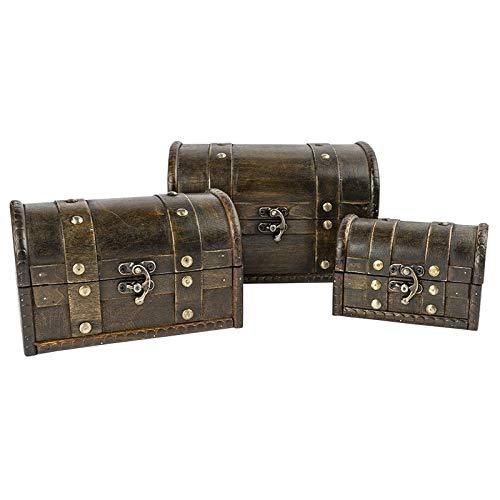 Schatztruhen   Lasiertes Holz   Mit Metall-Klappverschluss   3 Stück   3 verschiedene Größen
