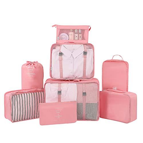 Belsmi Reise Kleidertaschen Set 8-teilig Reisetasche in Koffer Reisegepäck Organizer Kompression Taschen Kofferorganizer Mit Schuhbeutel (Stil A - Rosa)