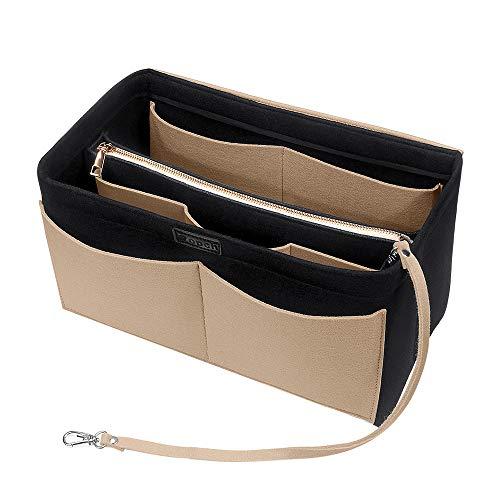 Ropch Handtaschen Organizer, Filz Taschenorganizer Bag in Bag Innentaschen Handtaschenordner mit Abnehmbare Reißverschluss-Tasche und Schlüsselkette, Schwarz...
