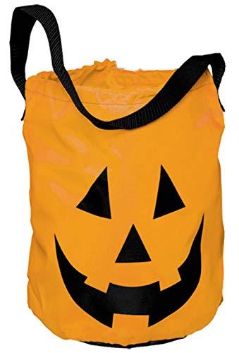 Amscan 370152-55 - Tragetasche Kürbis, Textiltasche, Größe 30 x 25 cm, Süßigkeiten Beutel, Party, Halloween