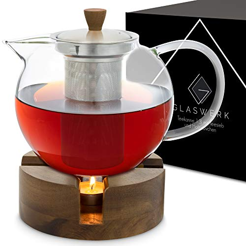 GLASWERK Teekanne mit Stövchen Set (1,3L) - Teekanne mit Stövchen aus edlem Akazienholz - Teekanne Glas - Teekanne mit Siebeinsatz aus rostfreiem Edelstahl