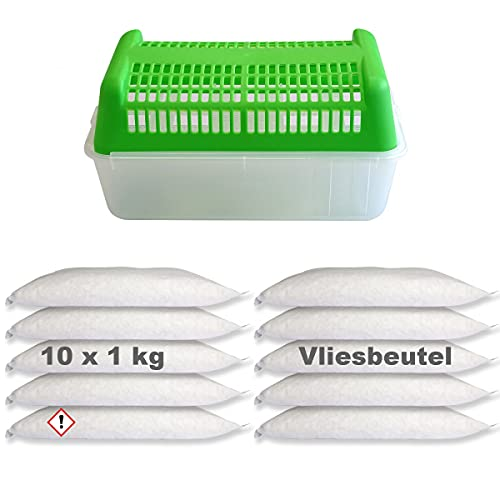 Luftentfeuchter Granulat 10x 1kg im Vliesbeutel inkl. Raumentfeuchter ohne Strom Box Nachfüllpackung