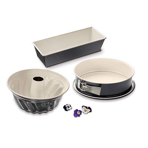 Dr. Oetker 3er Backformen-Set BACK-TREND: Springform, Gugelhupfform und Kastenform, Kuchenformen aus Stahl mit keramisch verstärkter Antihaft-Beschichtung...