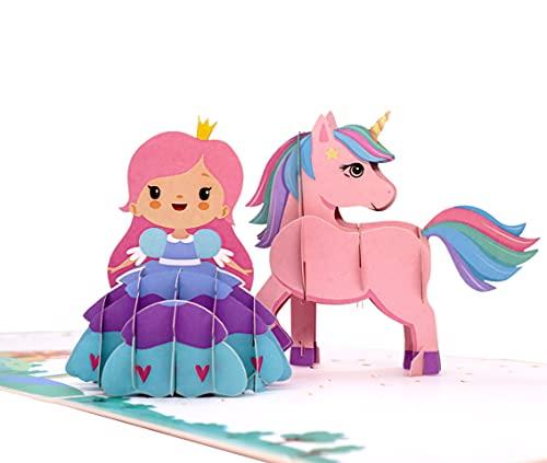 MOKIO® Pop-Up Karte für Kinder [NEU!] – Prinzessin & Einhorn – 3D Geschenkkarte zum Geburtstag, als Gutschein oder für Geldgeschenke, handgefertigte...