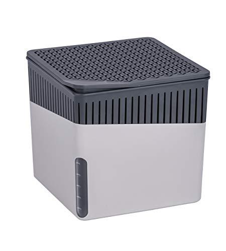 WENKO Raumentfeuchter Cube Grau 1000 g - Luftentfeuchter Fassungsvermögen: 1.6 l, Kunststoff (ABS), 16.5 x 15.7 x 16.5 cm, Hellgrau