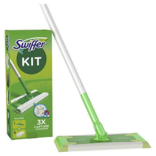 Swiffer Bodenwischer und Trockene Bodentücher (Bodenstab + 8 Trockentücher) Wischer ideal gegen Staub, Tierhaare & Allergene