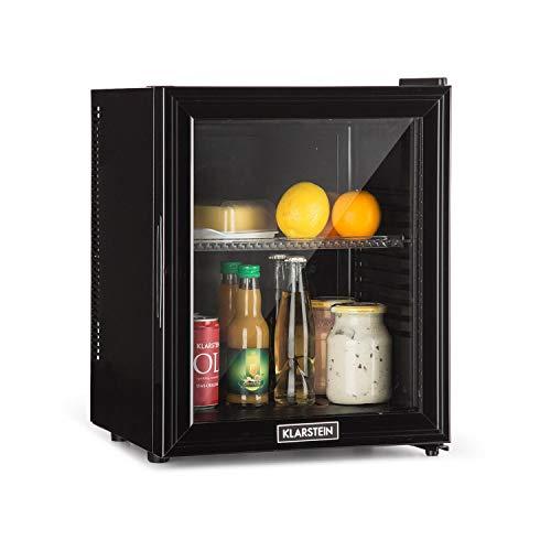 Klarstein Brooklyn - Kühlschrank mit Glastür - Mini-Kühlschrank, Mini-Bar, 0 dB, 12-15 °C, Kunststoff-Einsatz, LED-Innenbeleuchtung, Glastür, für Single-...