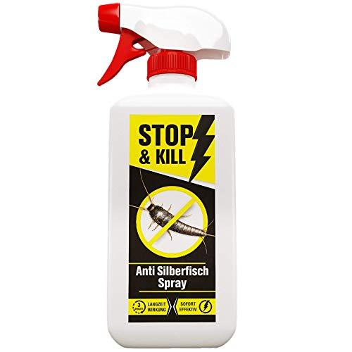 STOP & KILL Anti Silberfisch Spray 500ml | Geruchloses Mittel gegen Silberfische mit Langzeitwirkung | Hochwirksame Bekämpfung gegen Silberfischchen...