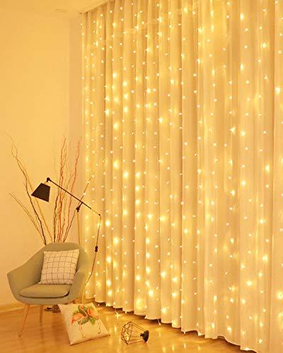 LED Lichtervorhang, 3 * 3M 300er Lichterketten Vorhang USB Fenster Lichterkette Wand mit Fernbedienung&Timer 8 Modi Wasserfall Lichterkette Innen Weihnachten...