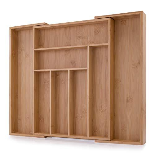 Zolmer Besteckkasten aus Bambus - größenverstellbarer Schubladeneinsatz mit 6 bis 8 Fächern - Schubladen Ordnungssystem mit 4 rutschfesten Noppen