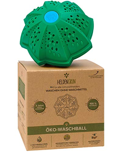 Heldengrün® Öko Waschball [4-FACH WASCHFORMEL] - Waschen ohne Waschmittel - Laborgeprüft - Waschmittel für Helden, Allergiker und Kinder - Nachhaltige...