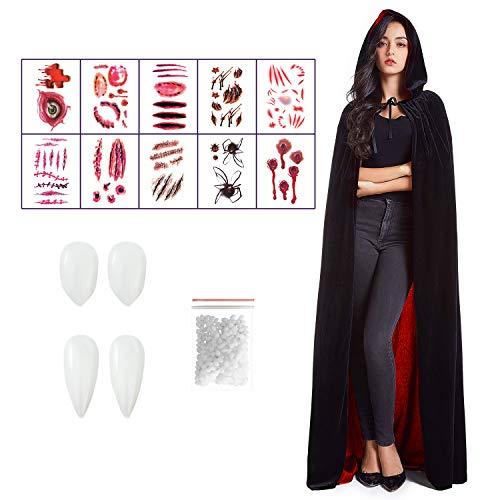 Ainkedin Halloween kostüm, Vampir kostüm, Schwarz Rot Cape 150 cm, 10 gruselige Tattoo-Aufkleber und Zahnersatz, Unisex Rollenspiel für Erwachsene...