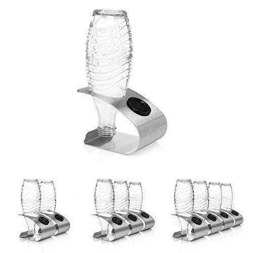 Premium Abtropfhalter aus Edelstahl für 3 Flaschen – Kompatibel mit SodaStream Glaskaraffen - Flaschenhalter mit Abtropfboden und Deckelhalterung für...