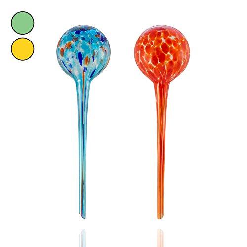 Amazy Bewässerungskugeln aus Glas (2er Set | Rot & Blau) – Handgefertigte Durstkugeln zur Bewässerung Ihrer Pflanzen im Urlaub (bis zu 14 Tage)