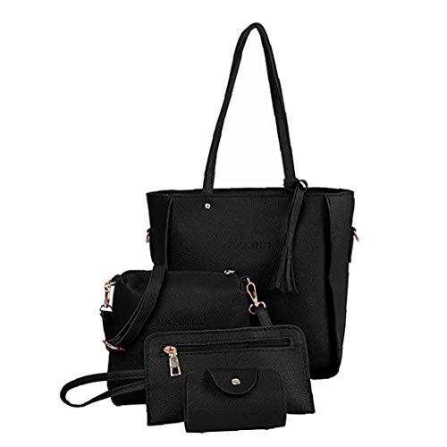 Homiki Frauen Bag Set weiches PU-glühender Griff Taschen Set Tragetasche Schultertasche Umhängetasche Beutel-Mappe Kartenhalter Perfekt für den täglichen...