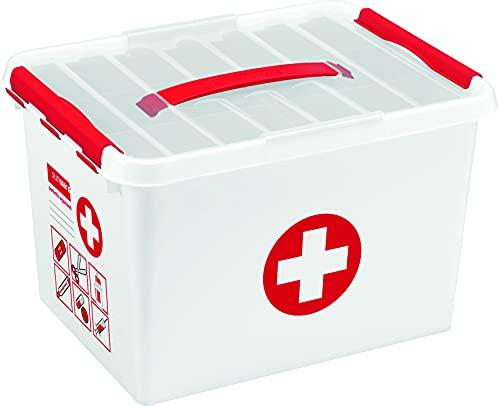 sunware by helit H6164805 - Aufbewahrungsbox 'the q-line', 22,Liter, mit Deckel, weiß/rot, 1 Stück