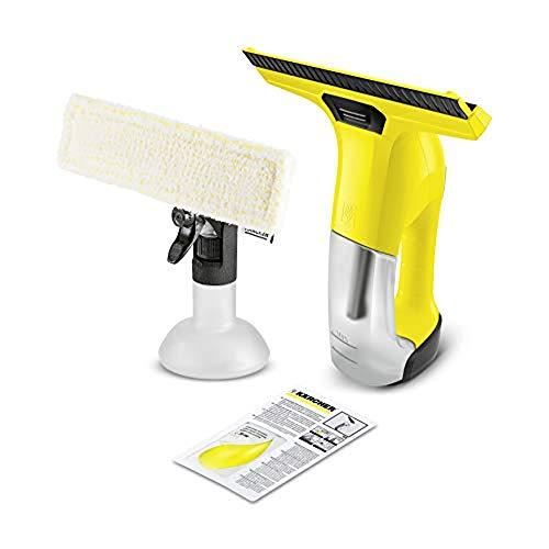 Kärcher Akku-Fenstersauger WV 6 Plus (Extra lange Akkulaufzeit: 100 min, wechselbare Absaugdüse, Sprühflasche mit Mikrofaserbezug, Fensterreiniger-Konzentrat...