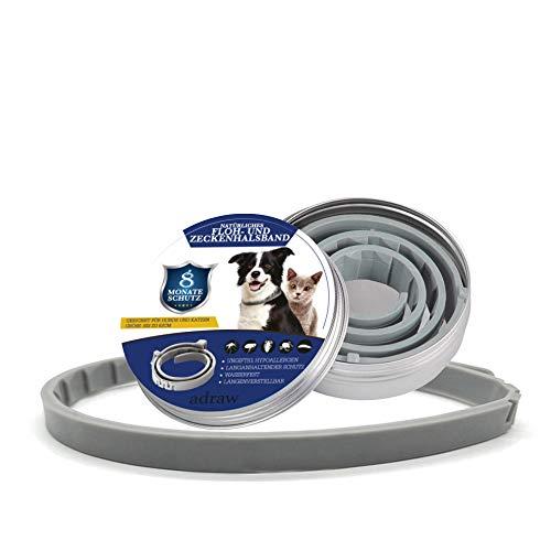 adraw Zeckenhalsband für Hunde | Flohhalsband für Katzen | Natürliches Präventionshalsband | gegen Zecken, Flöhe & Milben | passend für kleine, mittlere...