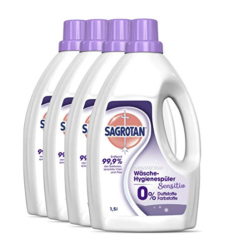Sagrotan Wäsche-Hygienespüler Sensitiv 0% – Desinfektionsspüler für hygienisch saubere und frische Wäsche, ohne Farb- und Duftstoffe – 4 x 1,5 l...