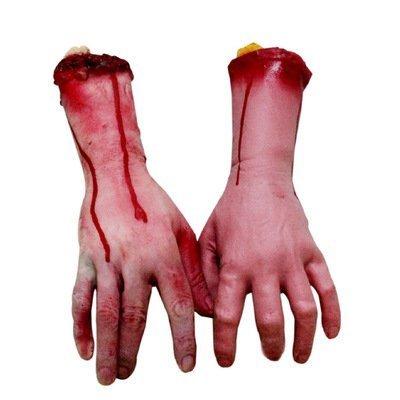 LILITRADE 1 Stück Echthaar Arm Hände Blutige tote Körperteile Spukhaus Halloween Dekoration (zufällige Hand)