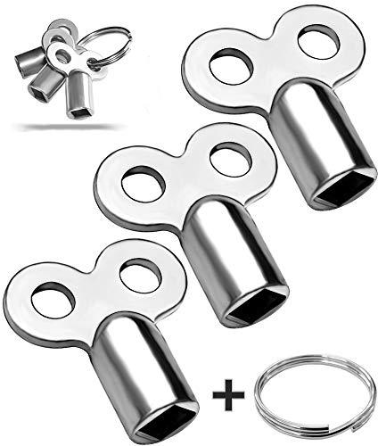 3x Entlüftungsschlüssel | Universal - alle Heizkörper | mit Ring zum Aufhängen | 5mm | Zinklegierung | Schlüssel zum Entlüften | Lüften aller Heizungen...