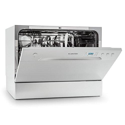 Klarstein Amazonia 6 Spülmaschine Tischgeschirrspüler (freistehend, 174 kWh/Jahr, 55 cm breit, 49 dB leise, 6 Maßgedecke, 6 Programme, Aquastop) silber