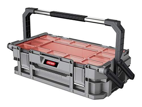 Keter Connect Werkzeugkasten, großer Werkzeugkasten, 2 Ebenen zur Aufbewahrung Ihrer Werkzeuge, 2 Standfüße, 11 herausnehmbare Fächer, Metallschlösser,...