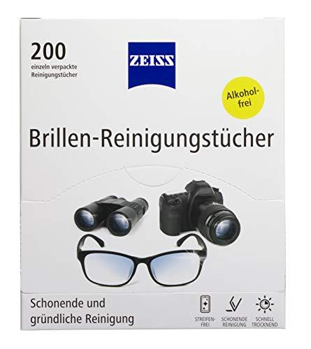 ZEISS Brillen-Reinigungstücher 200 Stück zur schonenden & gründlichen Reinigung Ihrer Brillengläser - jedes Tuch einzeln verpackt - ideal für unterwegs...