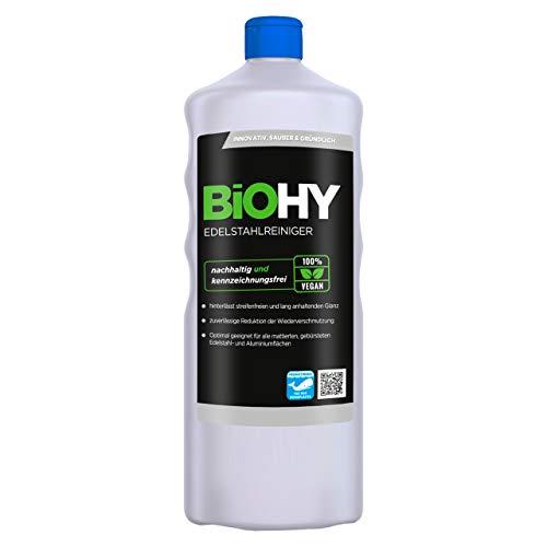 BiOHY Edelstahlreiniger (1l Flasche) | Edelstahlpflege für neuen, streifenfreien Glanz | Schutz gegen Fingerabdrücke, Schmierflecken etc. | schonend und...