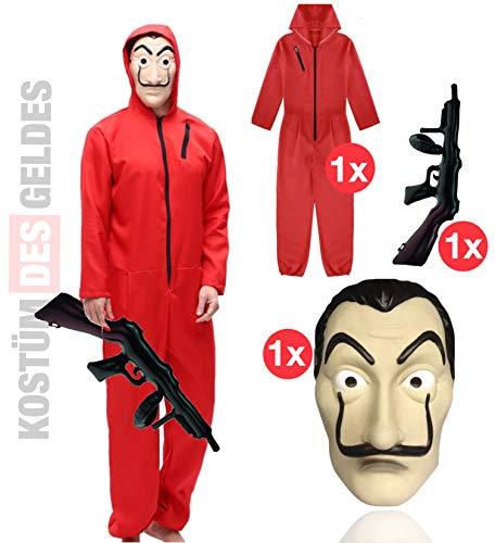 TK Gruppe Timo Klingler Kostüm Set - Haus des Geldes für Kinder mit Dali Salvador Maske, aufblasbares Gewehr, roter Overallanzug für Fasching & Halloween...
