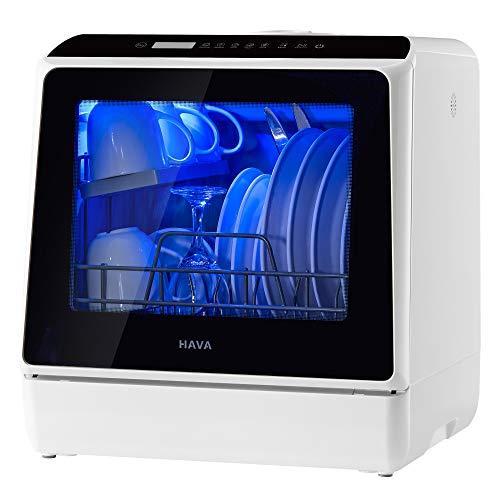 HAVA Tragbarer Mini Geschirrspüler, kompakter Spülmaschine, 6 Programme Mini Tischgeschirrspüler, 5 Liter Wasser benötigt, Trockenfunktion und Licht für...
