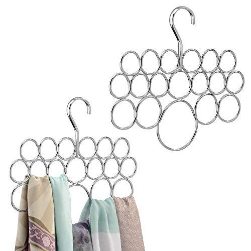 mDesign Schalbügel im 2er Set - für die organisierte Aufbewahrung von Schals und Tüchern in Ihrem Kleiderschrank - ideal als Schalhalter und Schalorganizer -...
