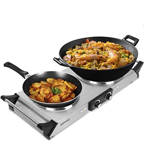 Duronic HP2SS Kochplatte | elektrische Doppelkochplatte | Herdplatte | Kochfeld aus Edelstahl | rostfreier Stahl | stufenlos einstellbare Temperatur |...