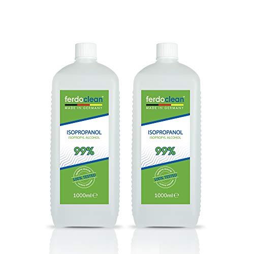 ferdoclean Isopropanol 99% 2 x 1000ml   Lösungsmittel 2000ml / 2 Liter IPA Alkohol Reiniger für Haushalt, Küche, Auto & mehr   Fettentferner Reinigungsmittel...