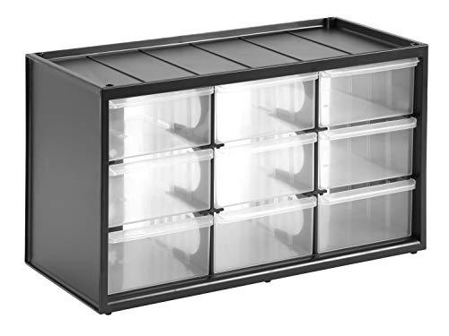 Stanley Kleinteilemagazin / Sortimentskasten (36.5x21.3x15.5cm, mit neun Schubladen, bruchfester Kunststoffrahmen, transparente Schubladen, geeignet für...