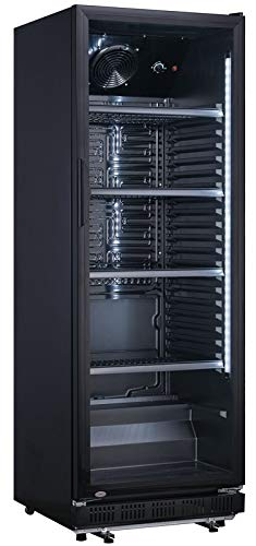 wDesigns Getränkekühlschrank Flaschenkühlschrank 360 Litern Volumen und Glastür Komplett Schwarz