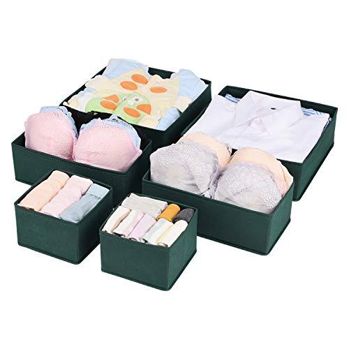 UMI. Essentials Aufbewahrungsbox Kleiderschrank Organizer 6er Set, Schubladen Ordnungssystem Organizer für Unterwäsche BH Dessous Socken, Stoffbox Faltbox...