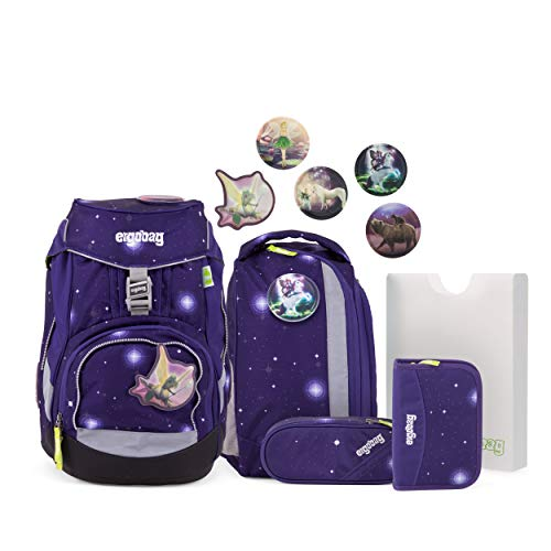 ergobag pack Set - ergonomischer Schulrucksack, Set 6-teilig - Bärgasus Glow - Lila