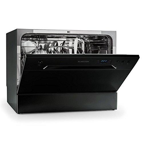 Klarstein Amazonia 6 Spülmaschine Tischgeschirrspüler (freistehend, F, 55 cm breit, 49 dB leise, 6 Maßgedecke, 6 Programme, Aquastop) schwarz