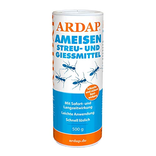 ARDAP Ameisen Streu- & Gießmittel 500g - Insektizid Granulat mit Sofortwirkung für die Bekämpfung von Ameisen, Ameisenstraßen & Ameisennester