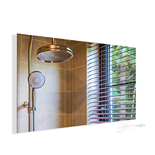 Infrarotheizung 580W Spiegelheizung mit Ein-/Ausschalter Spiegel Heizung Infrarot Wandheizung Heizplatte Heizpaneel Elektrisch Energieeinsparend Carbon Crystal...