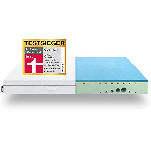 EMMA One Matratze TESTSIEGER Stiftung Warentest 10/2019 - Liegegefühl Hart - 90x200 cm - ergonomische 7 Zonen Matratze - atmungsaktiv - Öko Tex Zertifiziert -...