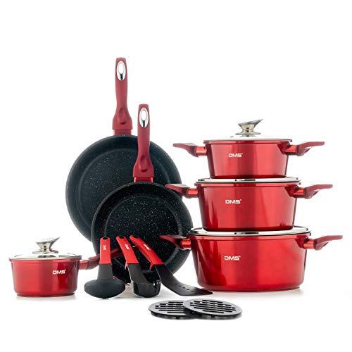 DMS® 15-teilig Induktion Kochgeschirr Kochset Töpfe Pfannen Bratpfanne Kasserolle Suppentopf mit Glasdeckel 3 Küchenutensilien 2 Topfuntersetzer Marbel...