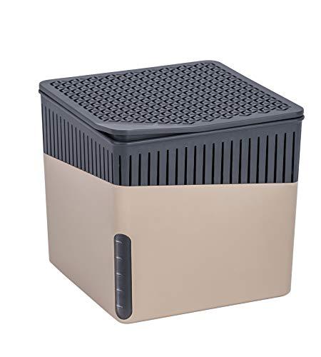 WENKO Raumentfeuchter Cube Beige 1000 g - Luftentfeuchter Fassungsvermögen: 1.6 l, Kunststoff (ABS), 16.5 x 15.7 x 16.5 cm, Beige