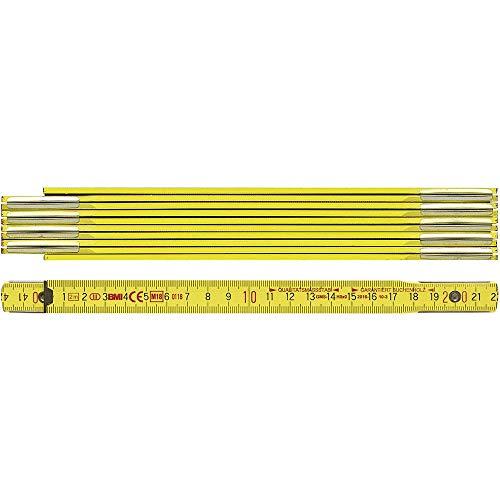 BMI 972900200 Holzgliedermaßstab aus Buchenholz, Gliederstärke 3 mm, Gelb