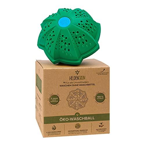 Heldengrün® Öko Waschball [4-FACH WASCHFORMEL] - Waschen ohne Waschmittel - TÜV SÜD geprüft - Bio Waschmittel für Helden, Allergiker und Kinder -...