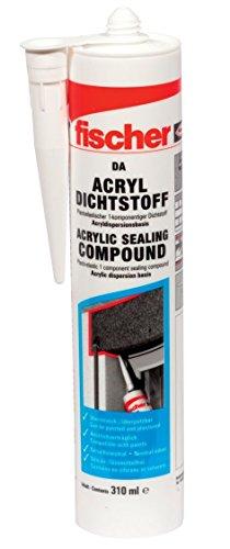 fischer Acryldichtstoff DA, geruchsarme Dichtmasse, elastoplastisches Maleracryl für Fugen im Innenbereich, Fugenmasse für Ausbesserungen und Risse im...