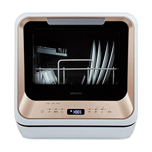 MEDION Mini Geschirrspüler (Tischgeschirrspüler, Spülmaschine für 2 Maßgedecke, funktioniert mit/ohne Wasseranschluss, 6 Reinigungsprogramme,...