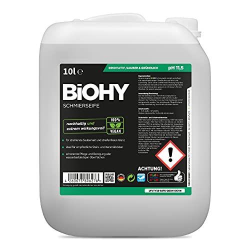 BiOHY Schmierseife (10l Kanister)   Fußbodenreiniger KONZENTRAT   Natürliche Inhaltsstoffe   anwendbar auf allen empfindlichen Oberflächen   Kautschuk,...